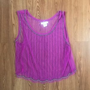 Body central sheer beaded orchid top